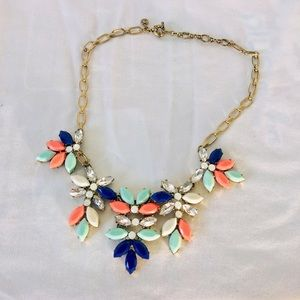 J. Crew Gold and Blue Statement Necklace